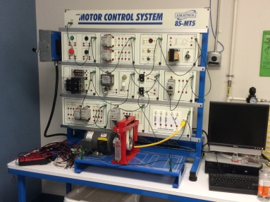 Motor controller trainer station in the electrical trades lab at OCM BOCES adult education facility.